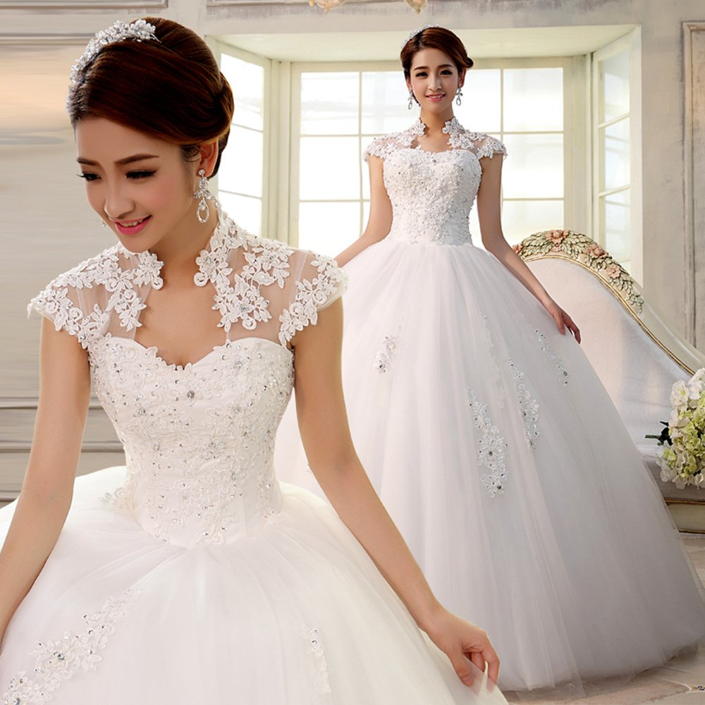 Ubridal Sweetheart Lace Appliques Backless Beaded Ball Gown Wedding Dress