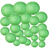 Just Artifacts Decorative Round Chinese Paper Lanterns 24pcs Assorted Sizes (Color: Green)