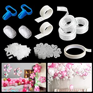 Balloon Decoration Strip Kit for Arch Garland with 49.5FT Tape Strip 20 Flower Clip 33FT Masking Tape 65FT Ribbon 200 Dot Glue 2 Tying Tool 200 H-Clip for Baby Shower Wedding Birthday Party Decors (Balloons Not Included)