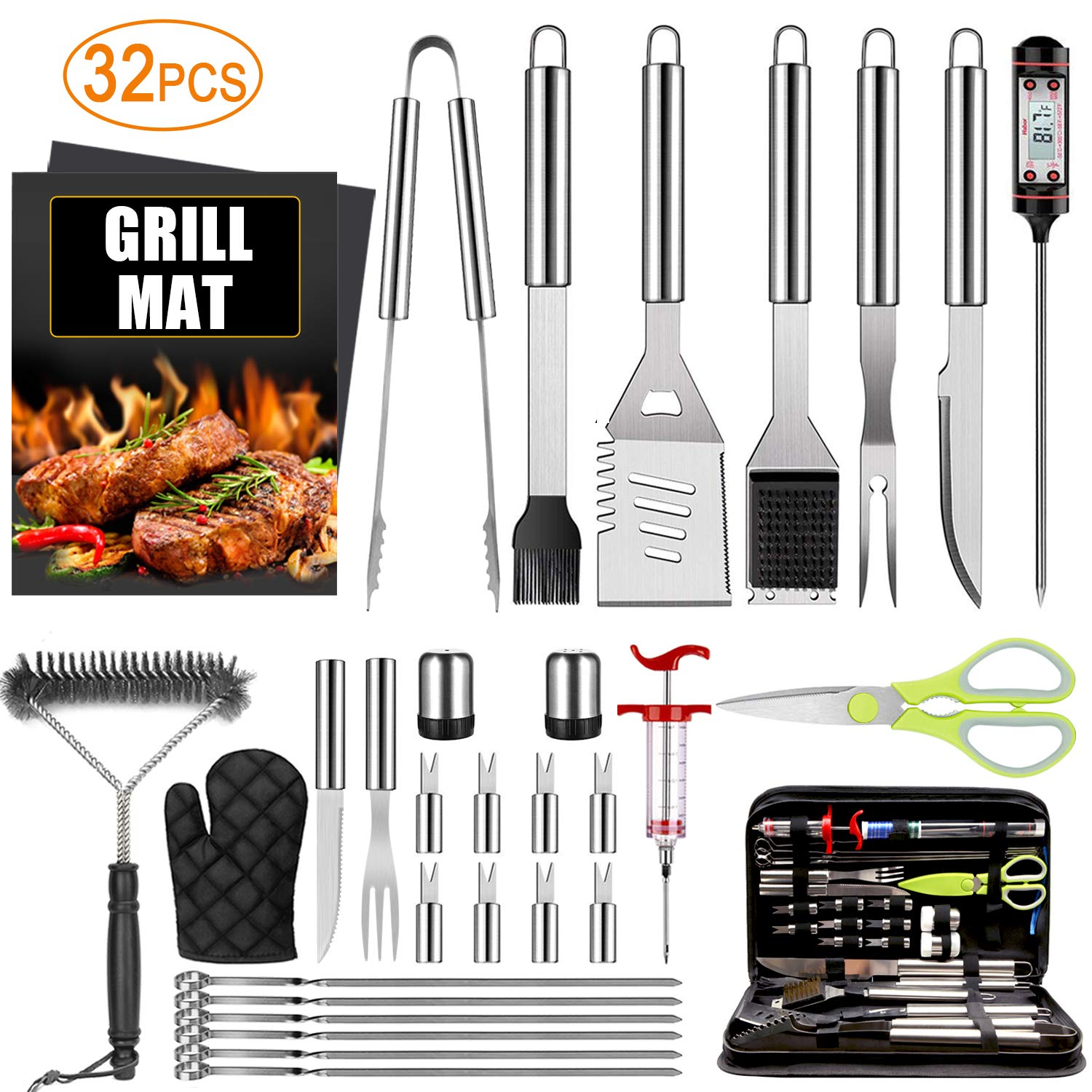 32PCS BBQ Grill Accessories Tools Set, Stainless Steel Grilling Tools with Carry Bag, Thermometer, Grill Mats for Camping/Backyard Barbecue, Grill Tools Set for Men Women by TAIMASI