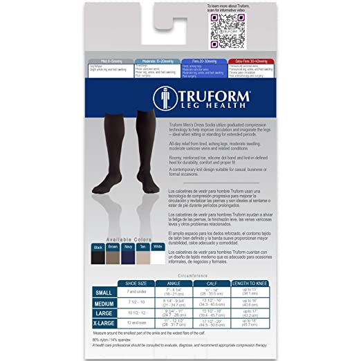 Amazon.com: Truform Mens Knee High 20-30 mmHg Compression Dress Socks, Black, Small: Health & Personal Care