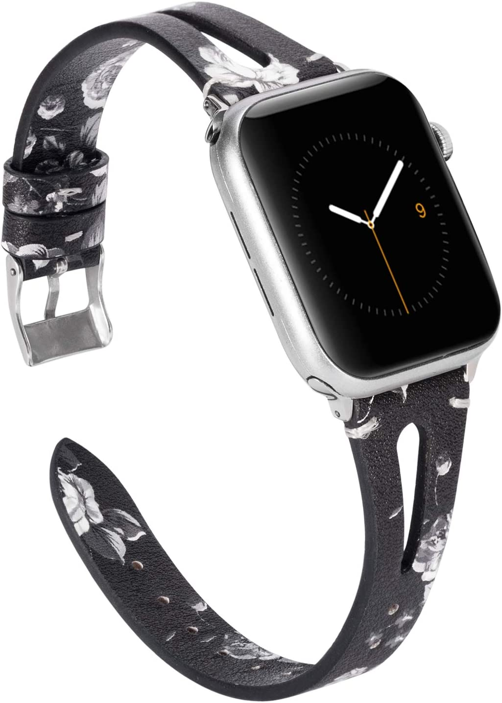 Wearlizer Black White Floral Womens Leather Compatible with Apple Watch Bands 38mm 40mm for iWatch SE Triangle Hole Strap Wristband Replacement Distinctive Bracelet (Silver Clasp) Series 6 5 4 3 2 1