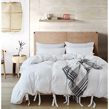 DREFEEL Egyptian Quality Vibrant Stone Washed Microfiber White Duvet Cover Queen Size 3 Pcs Set (1 Duvet Cover, 2 Pillowcases) - Soft Comforter Cover Quilt Case - Solid Bedding