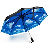 Hometek 折り畳み傘 梅雨対策 ワンタッチ自動開閉 二層生地 完全遮光 折り畳み 遮熱 耐風 青空 ブラック
