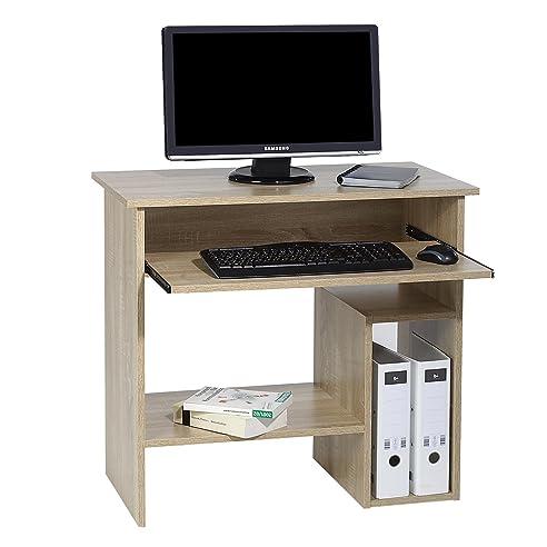 Computertisch Schreibtisch PC Tisch LOTTA, In Sonoma Eiche, Mit  Tastaturauszug, 80 Cm Breit