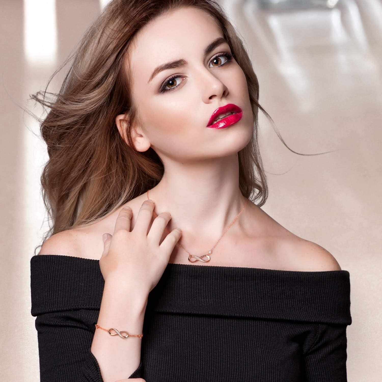 Billie Bijoux Pulsera de Collar de Plata de Ley 925 Conjuntos de Joyas chapadas en Oro Blanco Infinite Regalo de Amor para Mujer