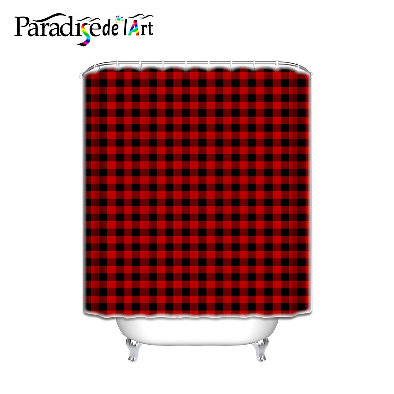 36x72 Inch Shower Curtain With Set Of 12 Hooks Bathroom Accessory Rustic Red Black Buffalo