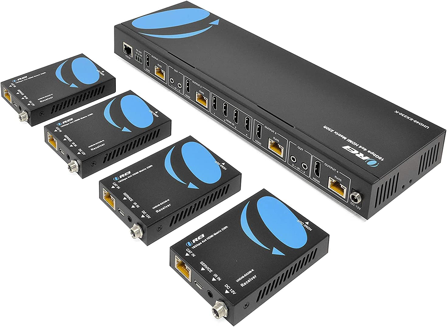 4K 4x4 HDMI Extender Matrix by OREI - UltraHD 4K @ 60Hz 4:4:4 Over Single CAT5e/6/7 Cable with HDR Switcher & IR Control, RS-232 - Up to 230 Ft - 1080P Downscale - 4 x Loop Out - 4 Receivers Included