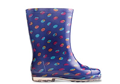 15cb9f628ed TOMS Blue Dots PVC Youth Rain Boots 10006266