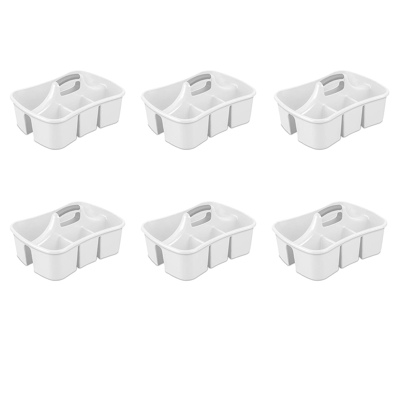 Sterilite 15888006 Divided Ultra Caddy, White Caddy w/ Titanium Insert, 6-Pack