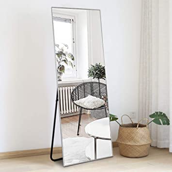 Amazon Com Zhowi Floor Mirror Full Length Large Full Body Size Stand Up Standing Wall Mounted Mirrors Bedroom Bathroom Decor Metal Frame Silver 65x22in Furniture Decor