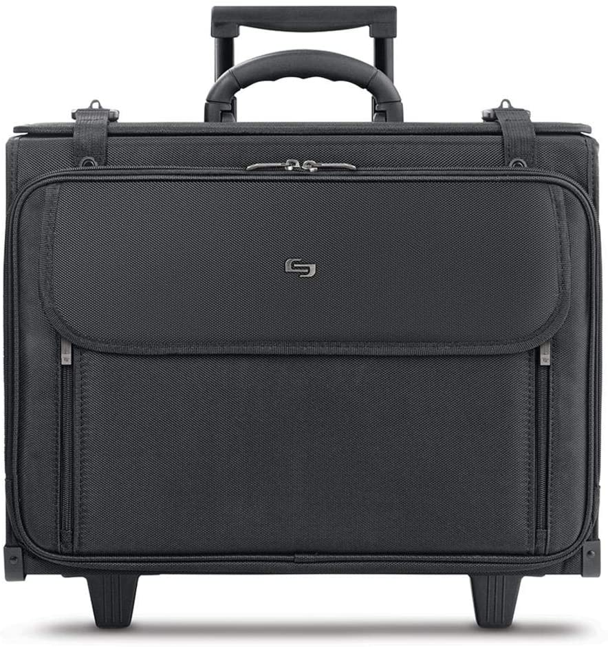 Solo New York Morgan Rolling Hanging File System Includes a Removable Sleeve That fits up to 17.3 inch Laptop, Two Wheeled Hard Side Catalog Case for Men and Women, Black