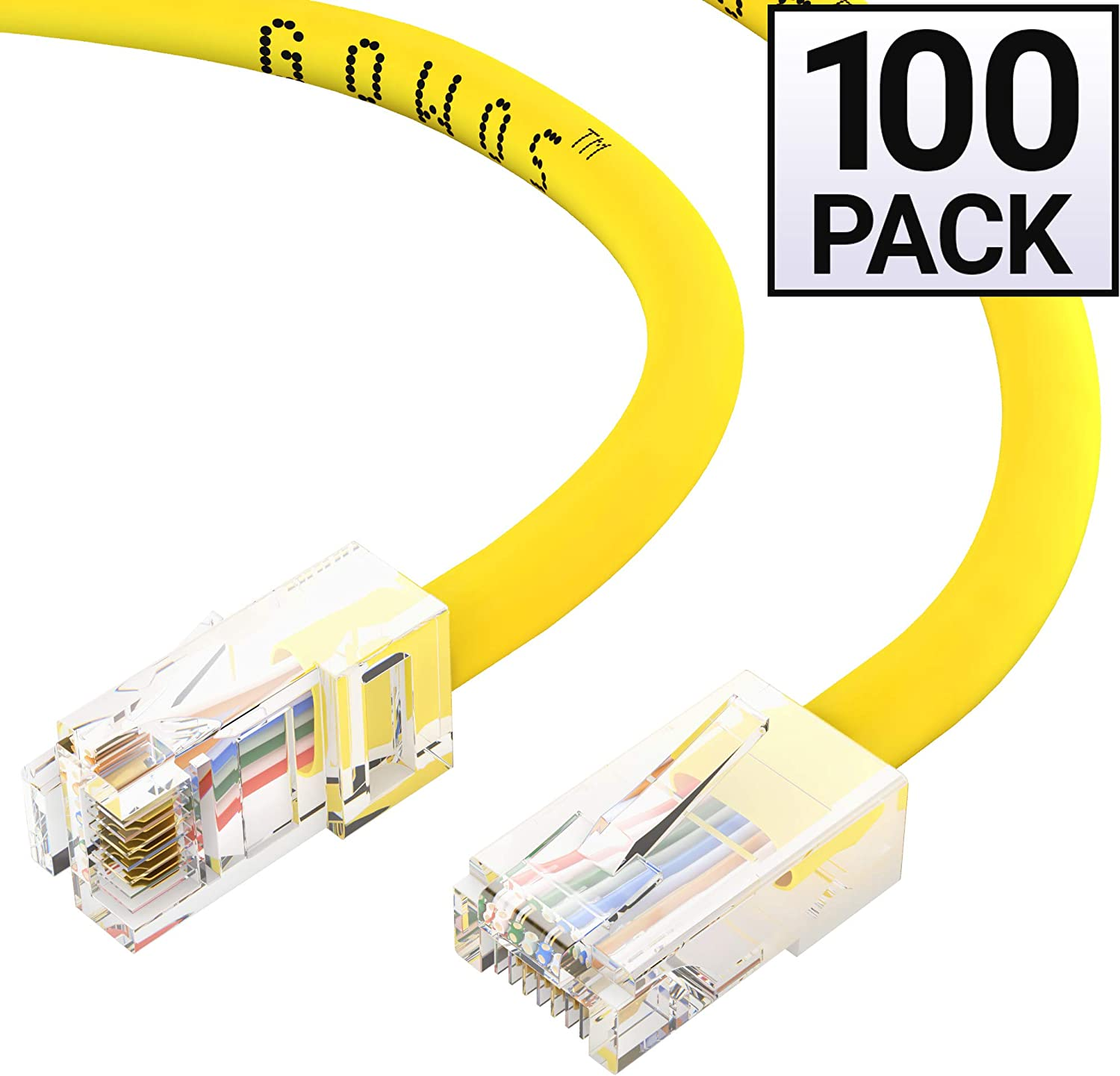 350MHz Yellow 24AWG Network Cable with Gold Plated RJ45 Non-Booted Connector 100-Pack - 7 Feet 1Gigabit//Sec High Speed LAN Internet//Patch Cable GOWOS Cat5e Ethernet Cable