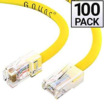 GOWOS Cat5e Ethernet Cable 24AWG Network Cable with Gold Plated RJ45 Non-Booted Connector Gray 2-Pack - 0.5 Feet 350MHz 1Gigabit//Sec High Speed LAN Internet//Patch Cable