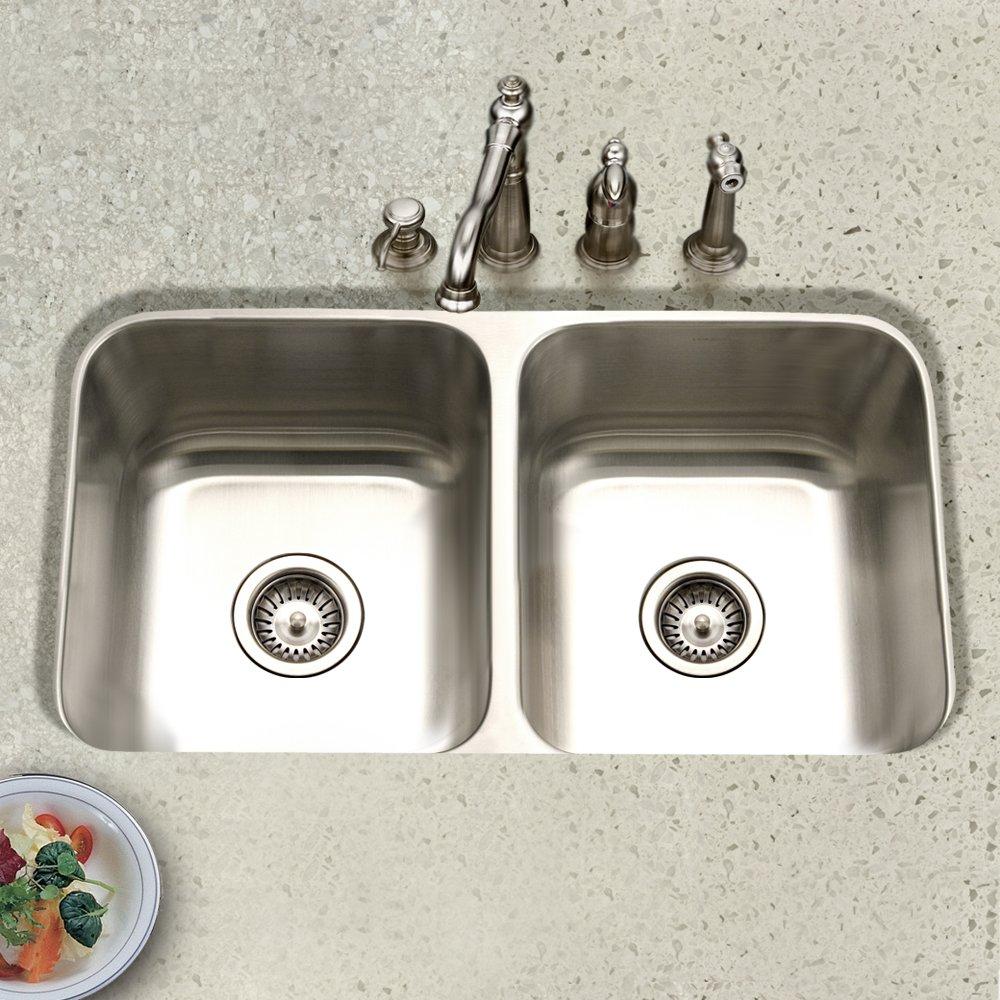 Houzer STD-2100 Easton 31-1//4-by-17-3//4-Inch 50//50 Double Bowl Undermount Stainless Steel Kitchen Sink