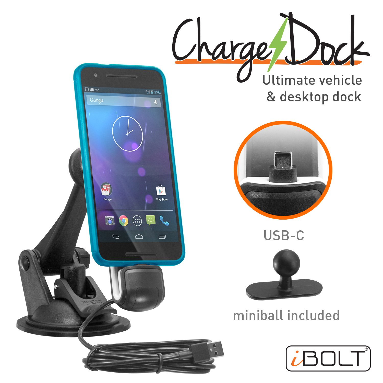 iBolt ChargeDock USB-C Ultimate Magnetic Vehicle and Desktop Dock Mount Holder w/ 2m USB Certified Type C to USB-A Charging Cable. Works With All USB-C Phones - Samsung Note 8 S8 Nexus 6P etc. IBC-34300