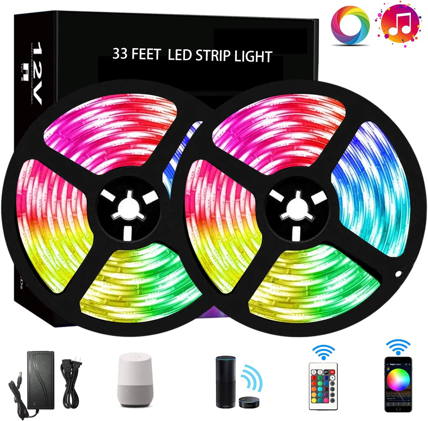 RUISHINE 33FT LED Strip Lights WiFi, Wireless Smart Phone Controlled RGB Rope Lights Sync to Music with 24 Key Remote, Flexible Color Changing Strip Kits Compatible with Alexa/Google Home