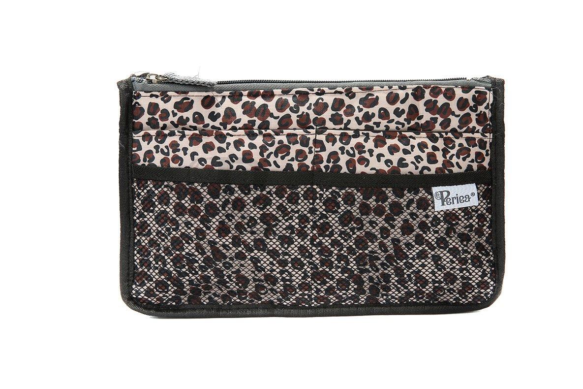Periea Beauty Cosmetic Handbag Organizer Liner Insert 12 Compartments - Chelsy (Brown, Medium) JNimports ESJNB18BR
