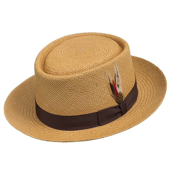 1930s Mens Hat Fashion Pork Pie Milan Panama Natural Straw Hat Dress $197.45 AT vintagedancer.com
