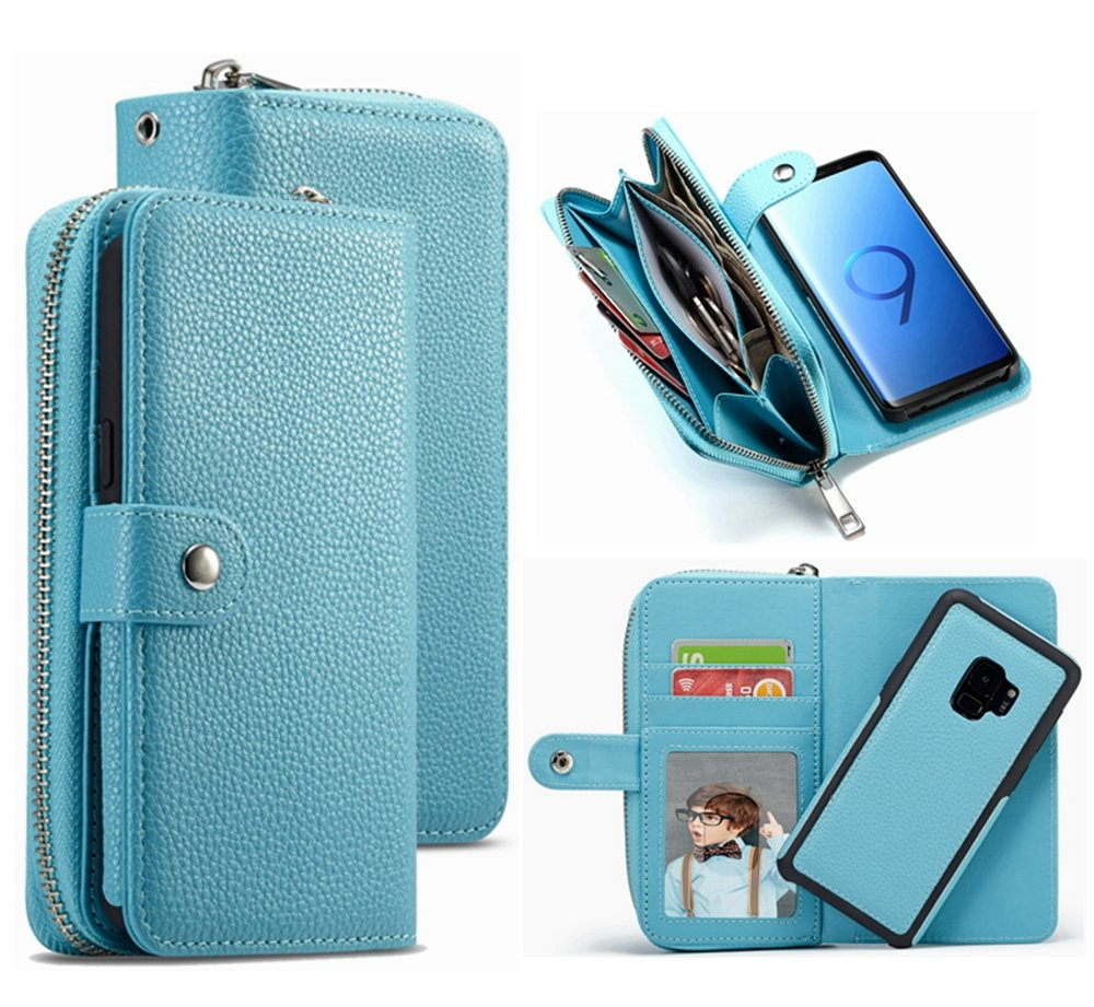 S9 Plus Wallet Case,HYSJY PU Leather Detachable Magnetic Zipper Purse for Women With Slim Shockproof Cover Shell Card Holder Slots Coin Pocket Fit Samsung Galaxy S9Plus(Zip -Blue, S9 PLus)