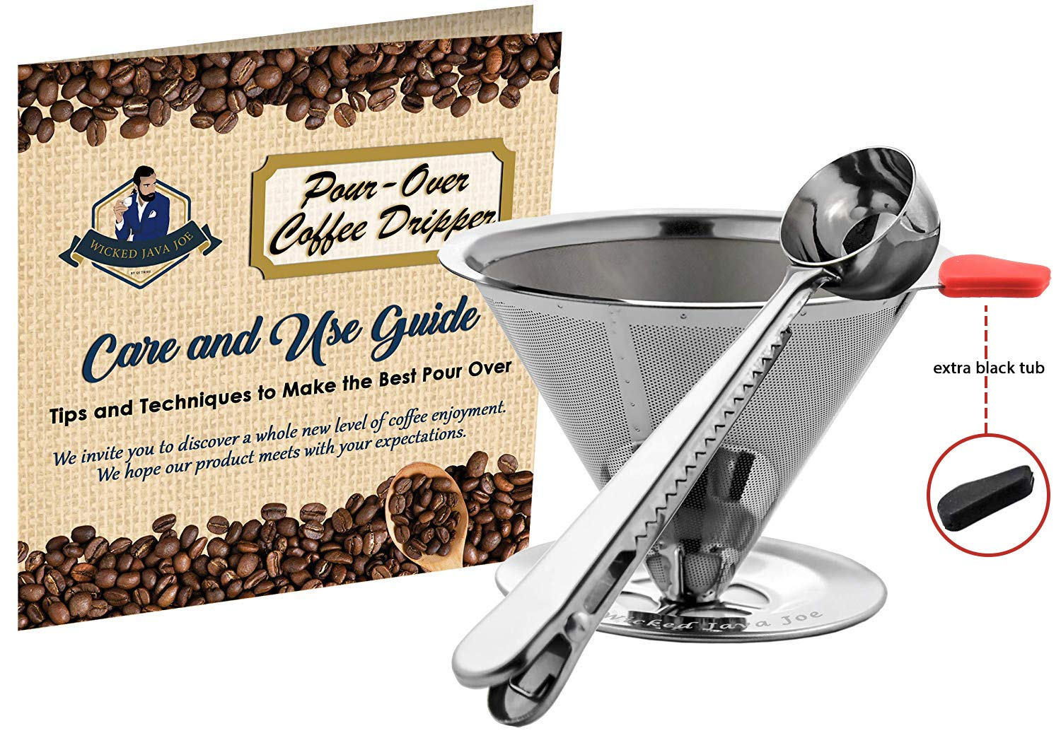 Wicked Java Joe 2 Cup Pour Over Coffee Dripper Makes Amazing Barista Quality Brew. Paperless, Reusable High Grade Stainless Steel Coffee Filter w/Bonus Coffee Scoop (Red)