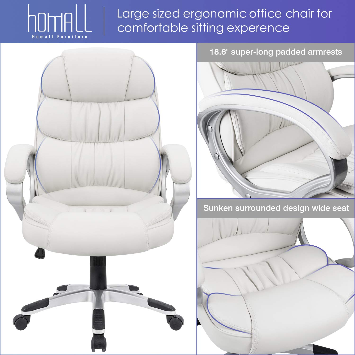 Homall Office Chair High Back Computer Desk Chair, PU Leather Adjustable Chair Ergonomic Boss Executive Management Swivel Task Chair with Padded Armrests (White) by Homall (Image #4)