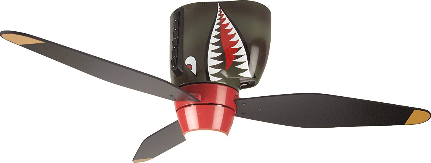 Craftmade Kids Ceiling Fan Boys WB348TS Tiger Shark Warplane With Light, 48-Inch 3 Blade Hugger Ceiling Fan