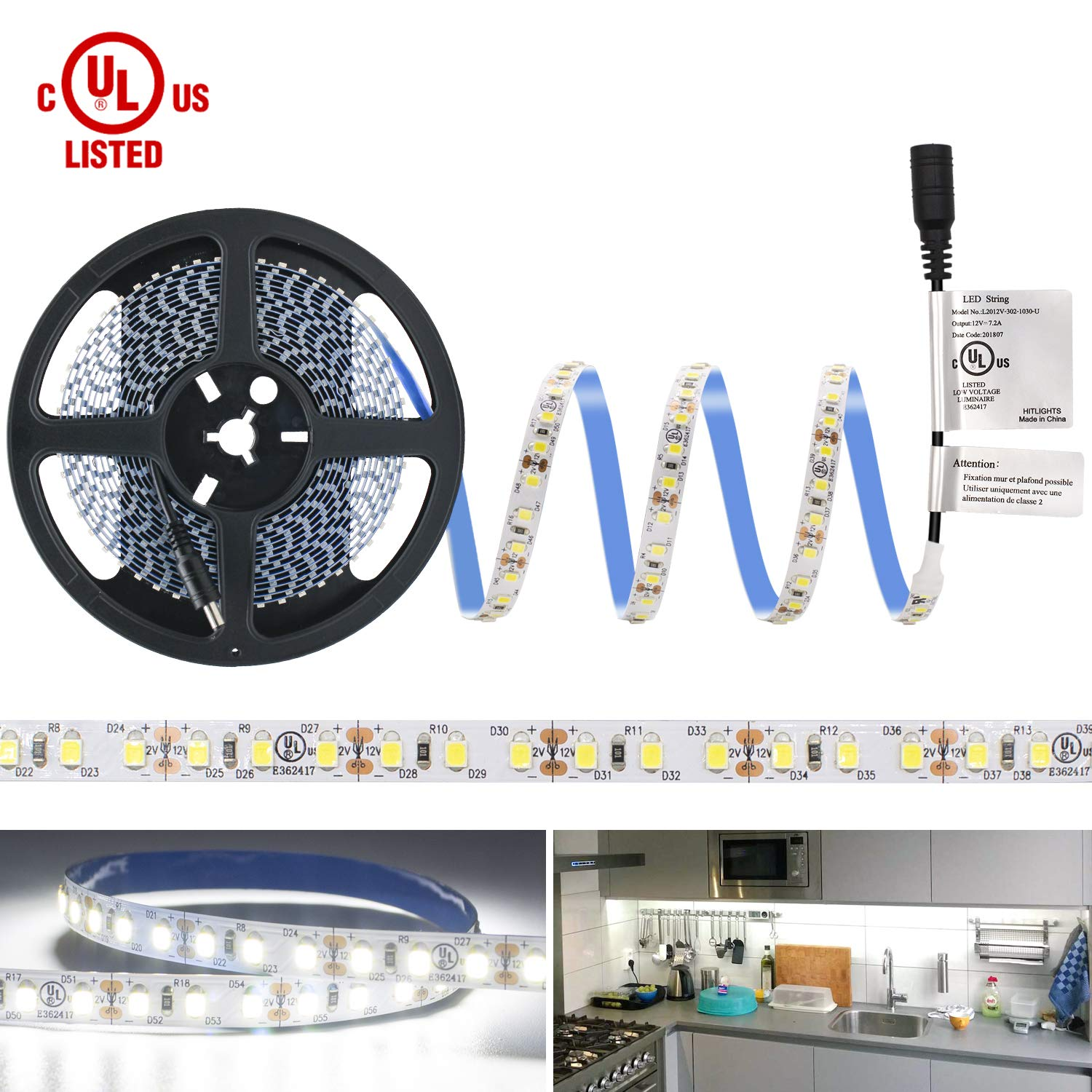 HitLights LED Strip Lights, UL-Listed Cool White LED Light Strip 600LED 5000K 164Lumens 2.7Watt per Ft. 12V LED Tape Lights for Kitchen, Under Cabinet