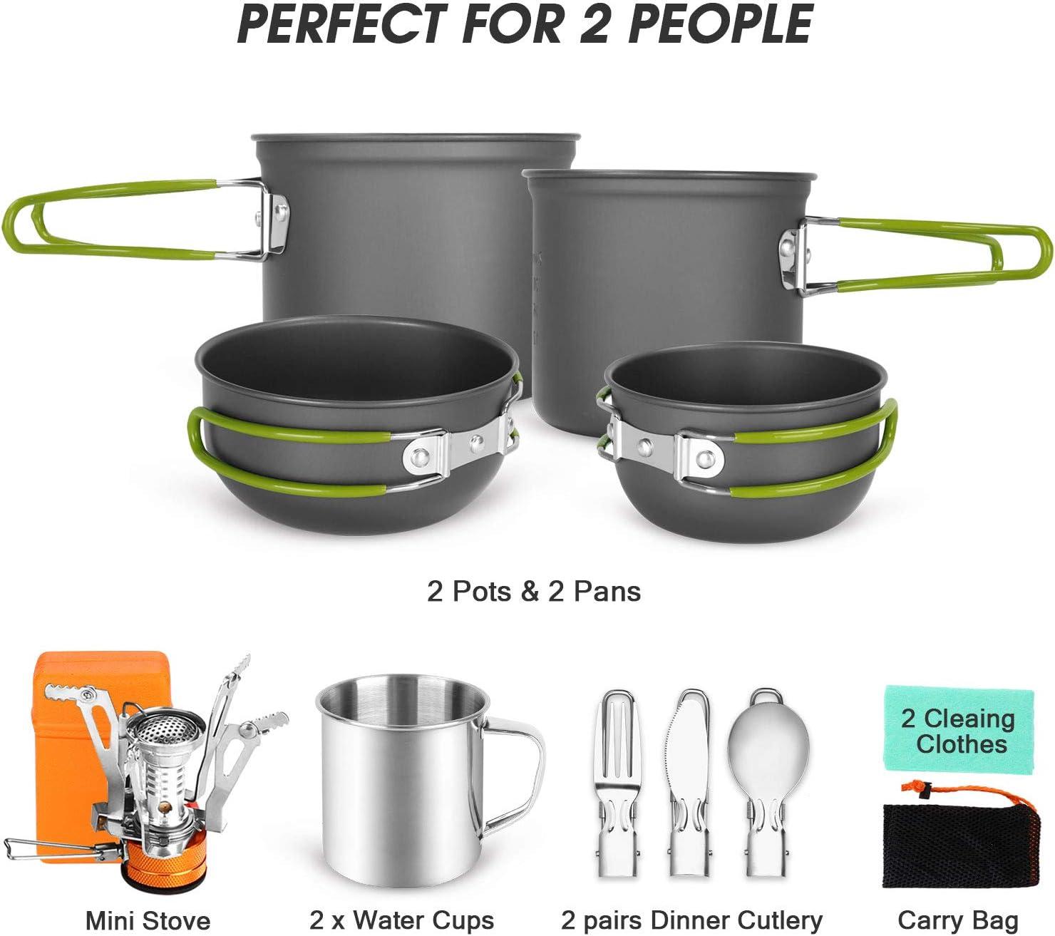 Odoland 16 Piezas Juego de Utensilios de Cocina para Camping Incl. 2 x Ollas Camping, 2 x Sartén de Aluminio, Estufa de Camping y 2X Taza de Acero ...