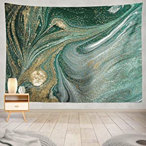 Summor Marbled Green with Golden Sequins Liquid Marble Ink Gold Ink Liquid Acrylic Art Nature Home Decorations for Living Room Bedroom Dorm Decor 80 x 60 Inch