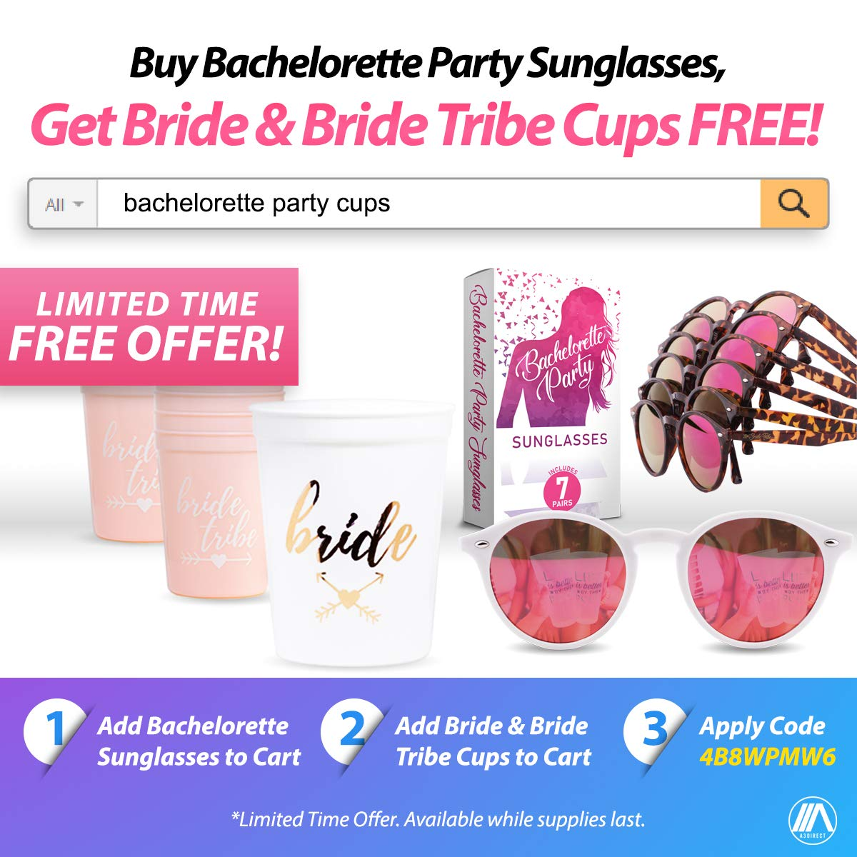 Bachelorette Party Sunglasses for Team Bride Perfect Bridesmaids Favors 7 Bride Tribe Mirrored Pink Lens Glasses Instagram Worthy Bachelorette Party Decorations//Supplies A3 DIRECT Bridal Shower Ideas