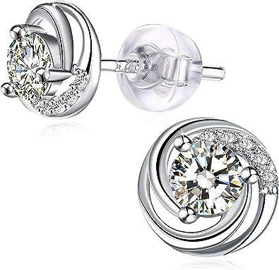 Argent sterling 925 fleur de cristal Boucles d/'oreilles clous pour charme femmes Bijoux