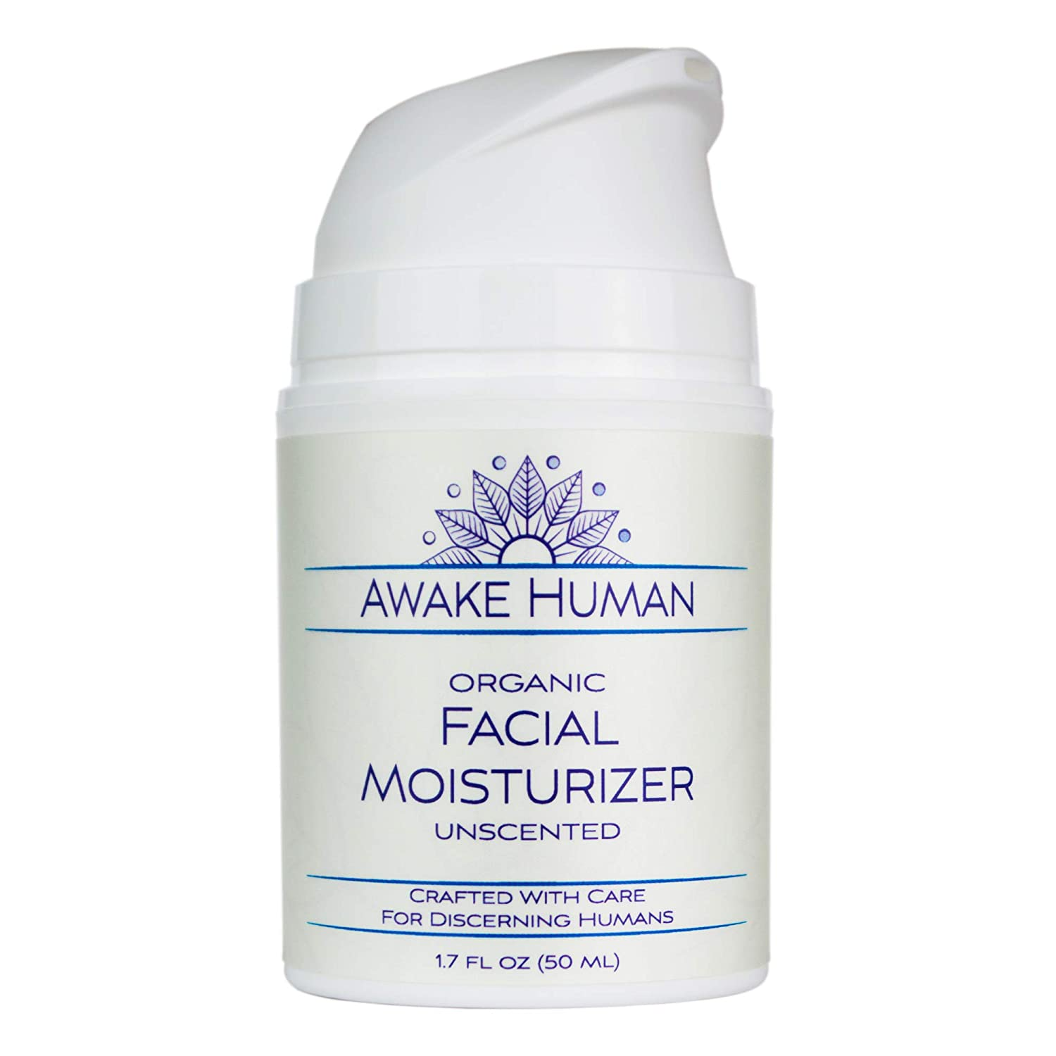 Organic Face Moisturizer, Unscented Natural Face Cream for Every Skin Type, Mostly Aloe, Jojoba, Green Tea, Shea Butter, Sweet Almond, 1.7 Ounces
