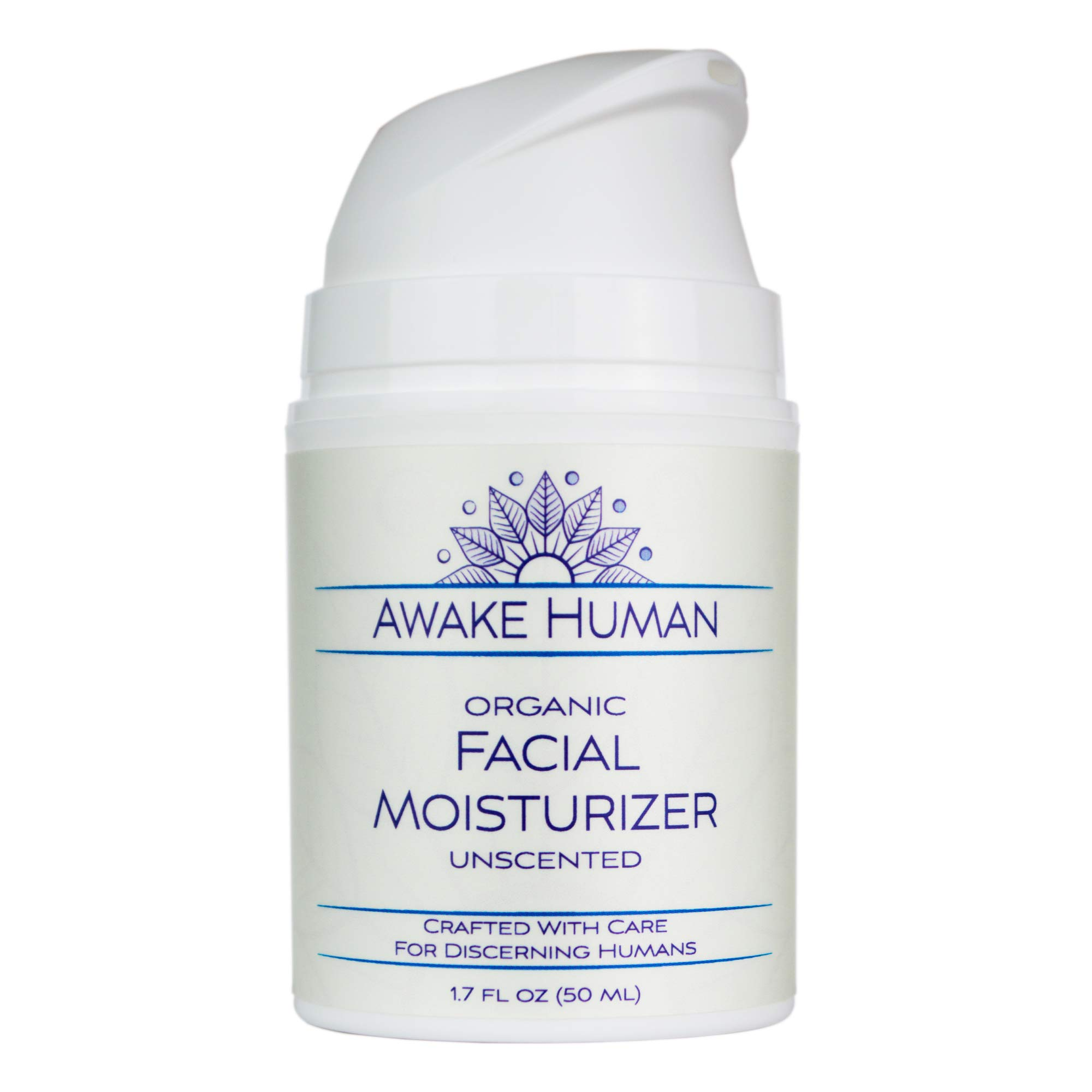 Organic Face Moisturizer, Unscented Natural Face Cream for Every Skin Type, Mostly Aloe, Jojoba, Green Tea, Shea Butter, Sweet Almond, 1.7 Ounces by Awake Human