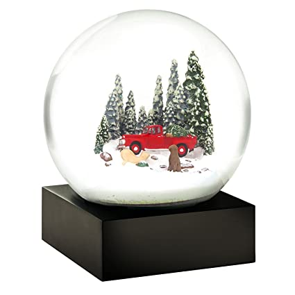 red truck dogs christmas tree snow globe by coolsnowglobes