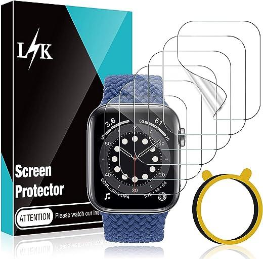 6 قطع واقي شاشة L K متوافق مع Apple Watch SE & Series 6 40 مم، طبقة شفافة مرنة خالية من الفقاعات مع أداة تركيب دائرية