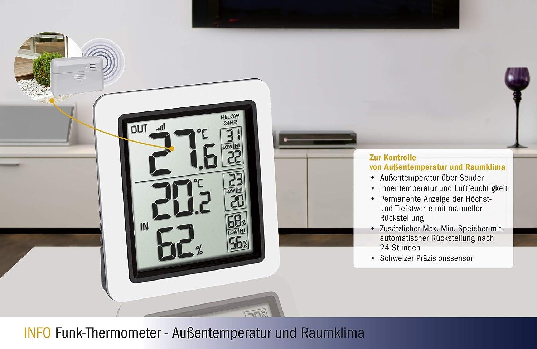 TFA-Dostmann 30.3065.02 INFO Thermom/ètre sans Fil avec /émetteur ext/érieur Chat Blanc