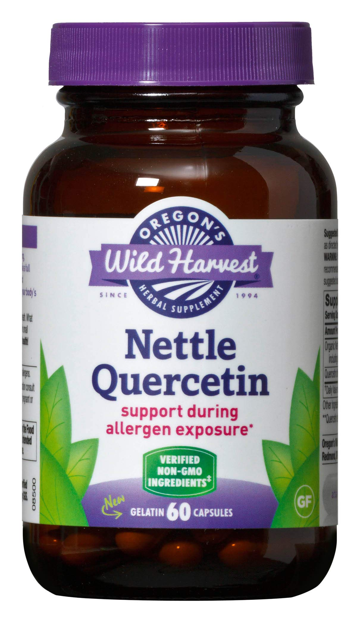 Oregon's Wild Harvest Nettle Quercetin Capsules, Non-GMO Organic Herbal Supplements (Packaging May Vary), 60 Count