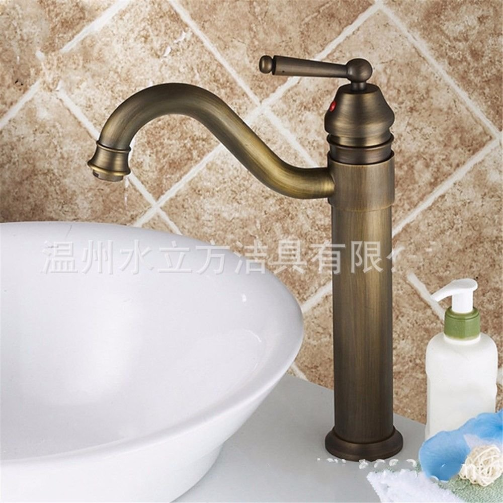 Commercial Single Lever Pull Down Kitchen Sink Faucet Brass Constructed Polished European Antique Copper Single Hole Hot and Cold Faucet Bathroom Bathroom Kitchen Basin Faucet