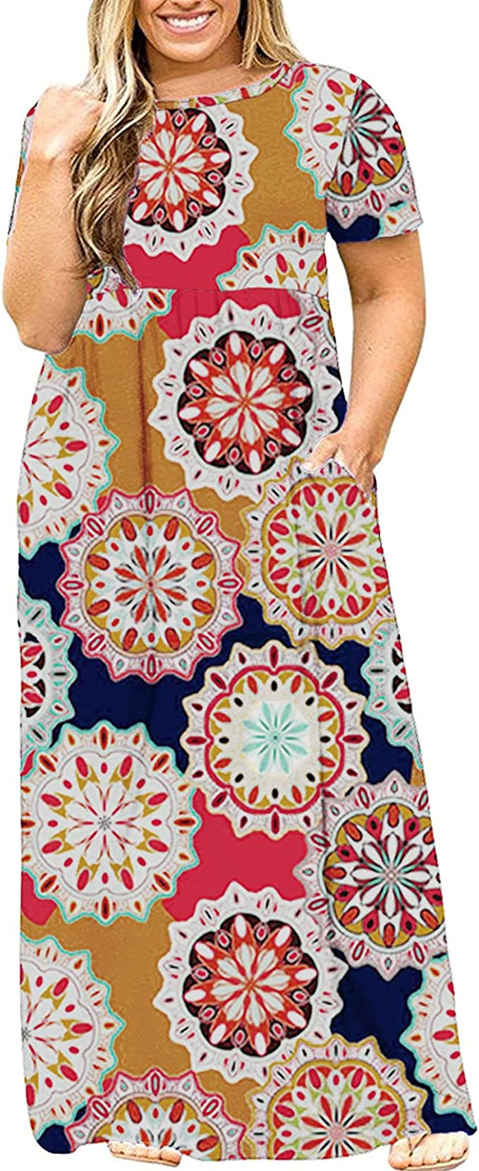 Womens Plus Size Maxi Dresses Floral Loose Short Sleeve T Shirt Casual Summer Long Dress with Pockets