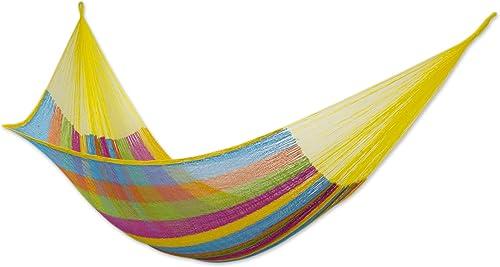 NOVICA Multicolor Cotton and Nylon Rope Mayan Hammock 'Yucatan Feast' Double