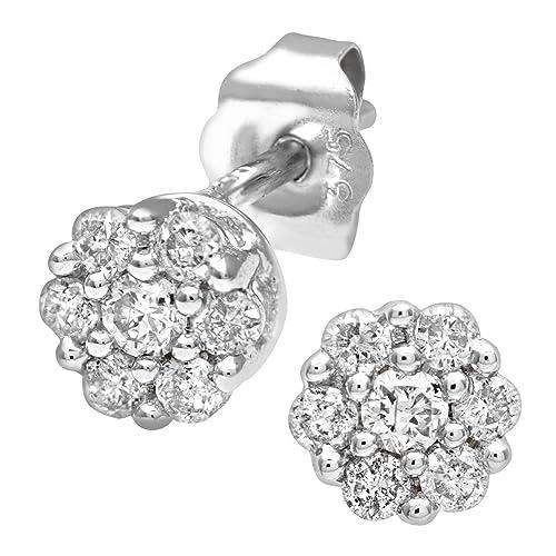 Naava Damen-Creolen 9k quadratische Kreolen 375 Weißgold rhodiniert Diamant (0.33 ct) weiß Prinzess