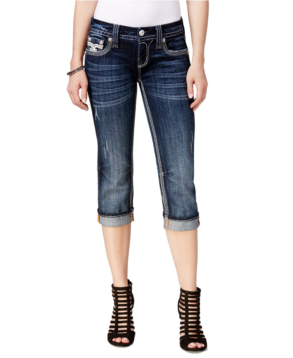 Rock Revival Women's Lindsie Cropped Blue Wash Capri Jeans (Dark Blue, 28)