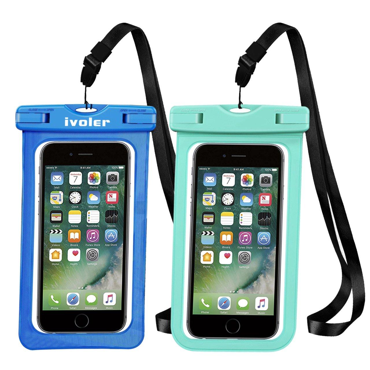 Huawei iVoler Pack de 2 Vert//Rose Pochette /Étanche T/él/éphone Certifi/ée IPX8 Samsung Etui//Housse//Coque /Étanche Smartphones Universel Sac Protection pour iPhone Jusqu/à 6,5 Pouce