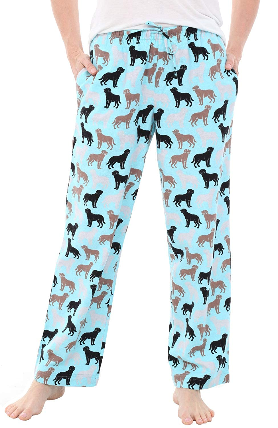 2X Happy Dogs on Mint Alexander Del Rossa Womens Flannel Pajama Pants Long Cotton Pj Bottoms A0702R742X