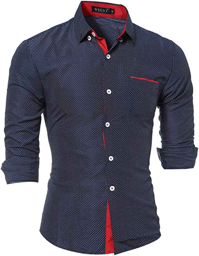 DFHYAR Mens Casual Hipster Short Sleeve Button Down Patchwork Cotton Polo Shirt