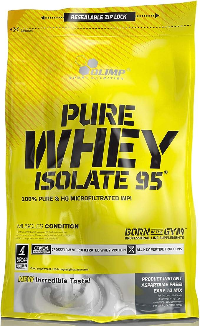 Olimp Pure Whey Isolate 95 Paquete de 1 x 600g Aislado de Proteína de Suero de Leche Pura WPI Aminoácidos BCAA Masa Muscular Sin Lactosa Sabor a ...