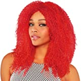 Ladies Crimped Red Wig Jester Clown Harlequin Honey Harley Quinn Halloween Fancy Dress Party Accessory