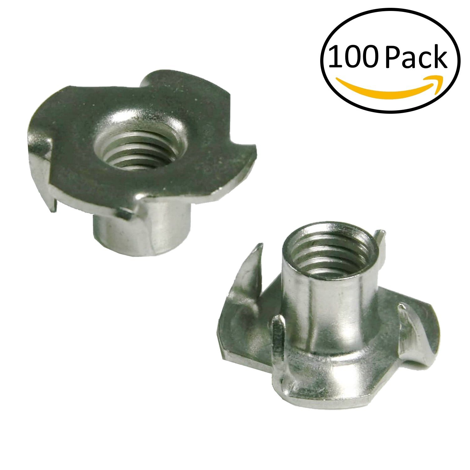 1/4-20 T Nuts - 4 Prongs - Zinc Plated -For Cabinetry, Rock Climbing Walls, Woodworking, etc. - .25 Dia. - 100 pcs.