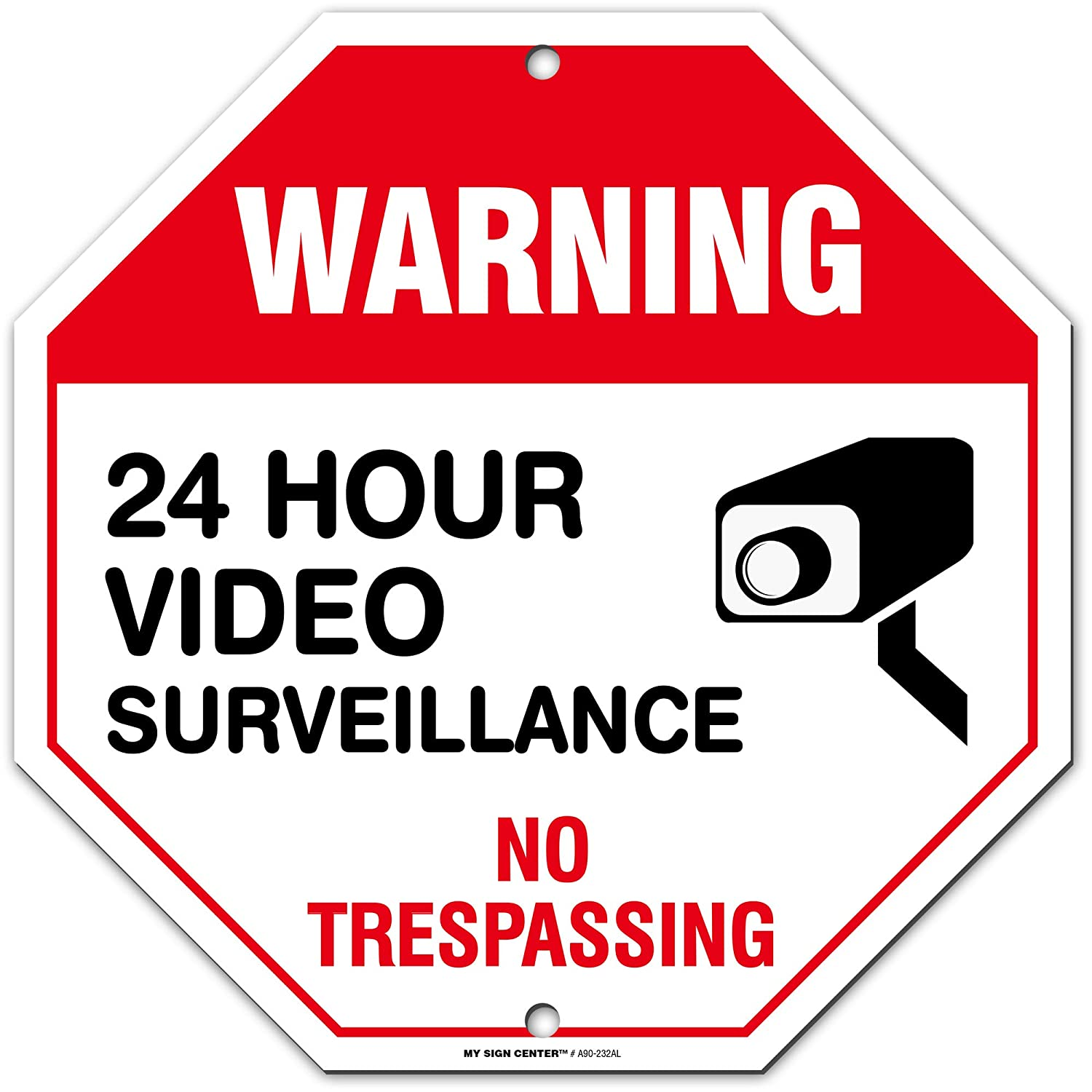 24 Hour Video Surveillance Sign 2 Pack Made in USA by SIGO SIGNS Fade Resistant Video Recording Sign,10x7 Rust Free Heavy 0.40 Aluminum Indoor Outdoor Use